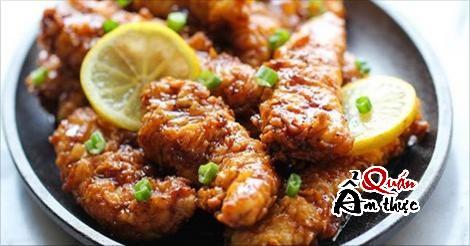 ách nấu gà chiên sốt chanh
