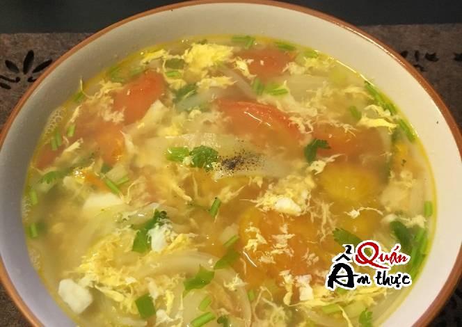 Cách nấu canh trứng cà chua ngon