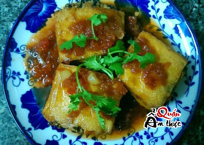 Cách làm đậu phụ nhồi nấm sốt cà chua