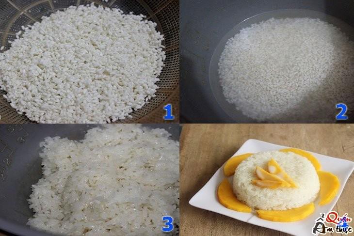 Cách nấu xôi xoài ngon bằng nồi cơm điện 2